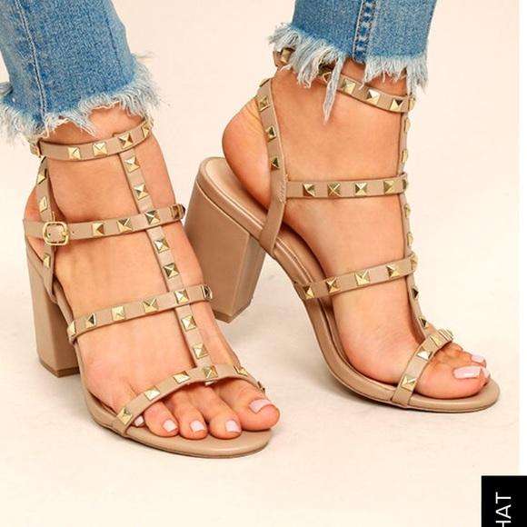 2b5e30a4874d Lulu s Shoes - Lulus Phedra Studded Ankle Strap Heels